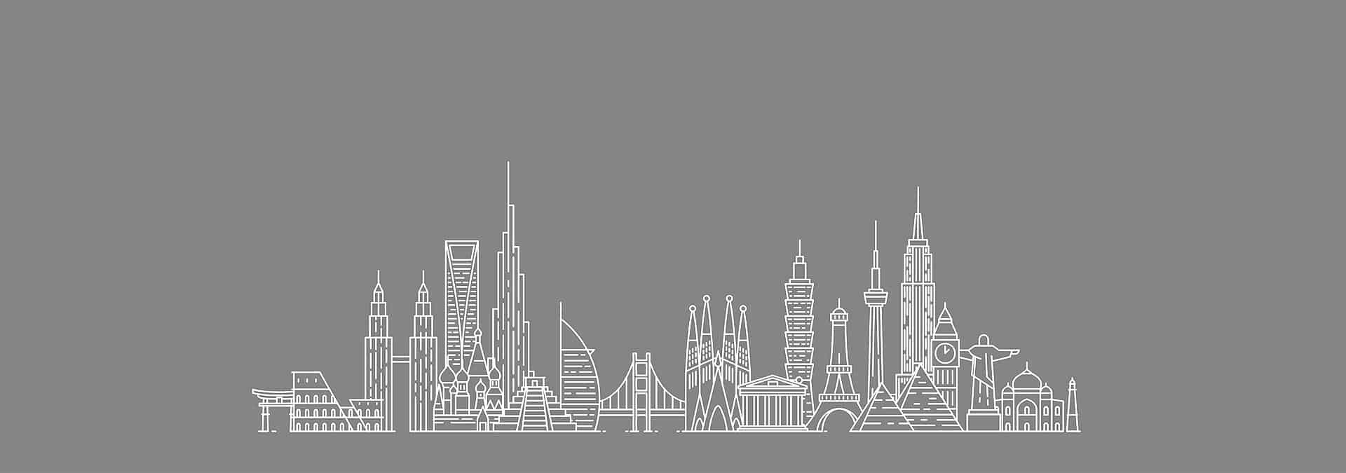Cityscape with landmarks from different global cities.