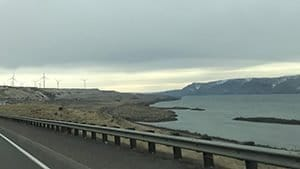 Columbia River and wind turbines along I-84