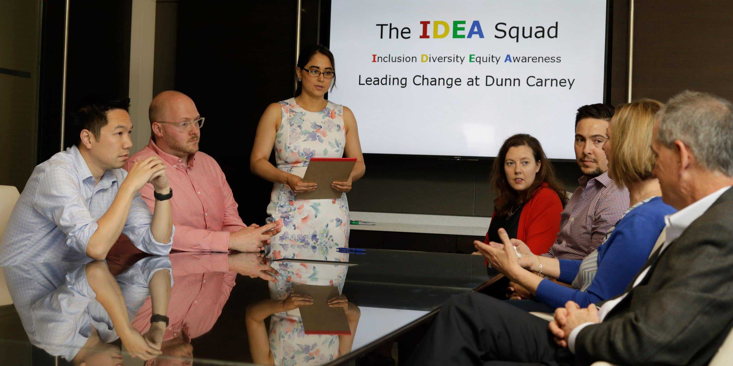 Dunn Carney's IDEA Squad embraces open discussion at meetings.